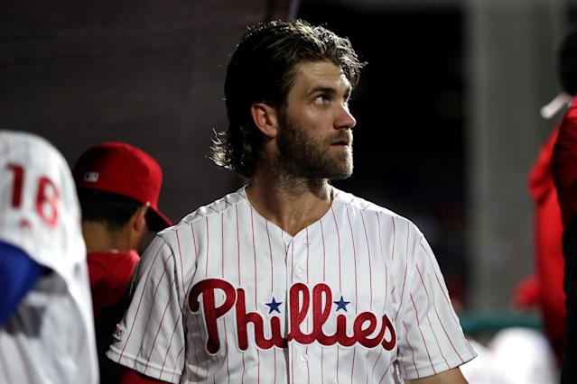 Bryce Harper #3 of the Philadelphia Phillies in the dugout during the game against the San Diego Padres at Citizens Bank Park on Friday, August 16, 2019 in Philadelphia, Pennsylvania. (Photo by Rob Tringali/MLB Photos via Getty Images)