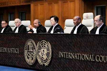 Judges are seen at the International Court of Justice before the issue of a verdict in the case of Indian national Kulbhushan Jadhav in The Hague