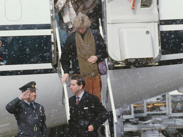 Prince Charles Princess Diana Sarah Ferguson arrive in Zurich on March 8, 1988.