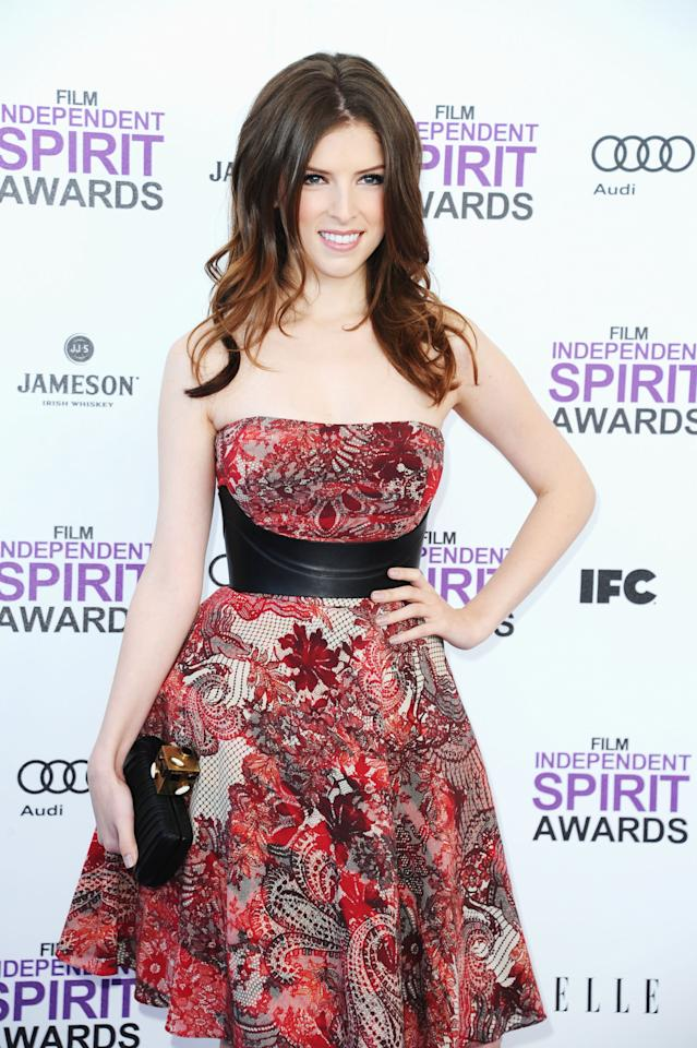 SANTA MONICA, CA - FEBRUARY 25:  Actress Anna Kendrick arrives at the 2012 Film Independent Spirit Awards on February 25, 2012 in Santa Monica, California.  (Photo by Alberto E. Rodriguez/Getty Images)