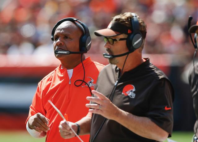 In one of the more Browns moments of the preseason, Hue Jackson blasted Gregg Williams in the media for blasting a player in the media. (AP)