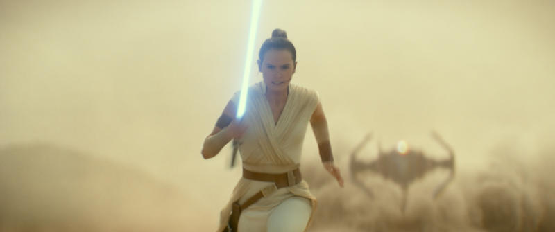 "This image released by Lucasfilm Ltd. shows Daisy Ridley as Rey in a scene from ""Star Wars: Episode IX."" (Lucasfilm Ltd. via AP)"