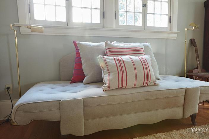 <p>This linen daybed came from the Alameda flea market. It originally was lemon-yellow, and we had it and reupholstered locally here in L.A. The brass floor lamps are from Sunbeam Vintage in Highland Park. </p>
