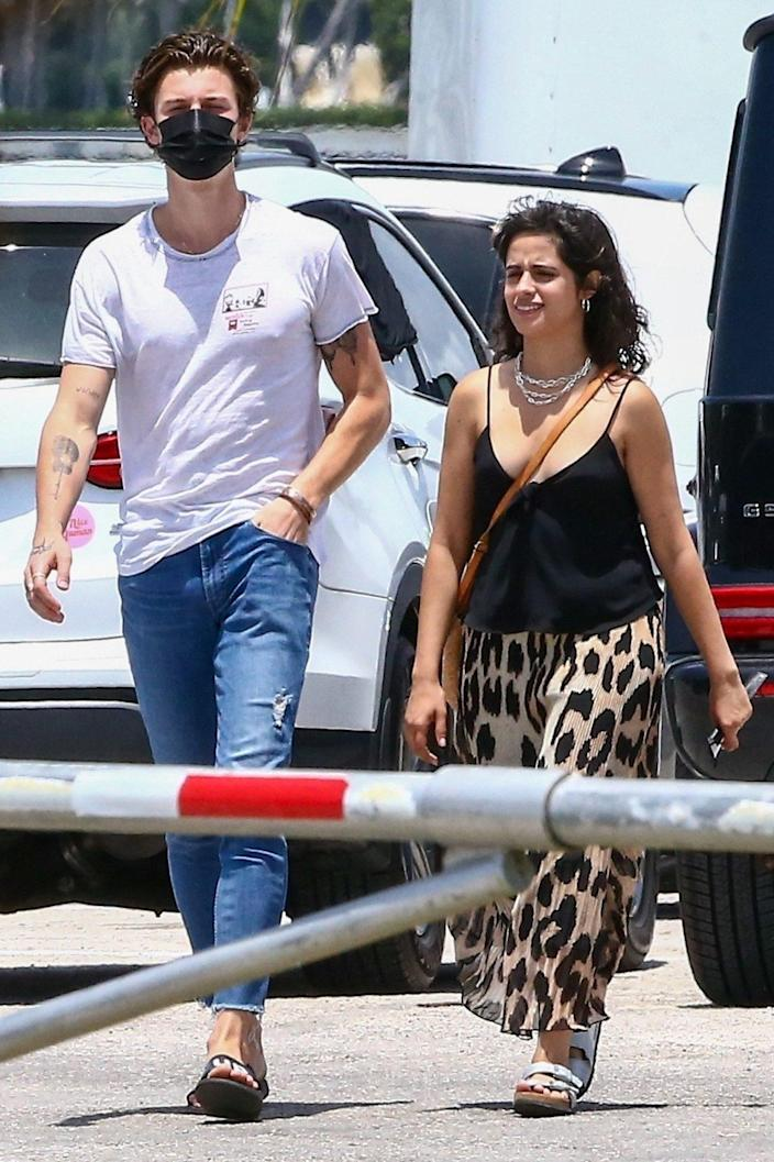 <p>Shawn Mendes and girlfriend Camila Cabello are seen heading to lunch together on Thursday in Miami. </p>