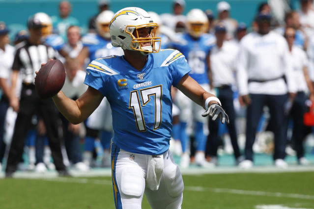 Los Angeles Chargers quarterback Philip Rivers (17) looks to pass the ball, during the first half at an NFL football game against the Miami Dolphins, Sunday, Sept. 29, 2019, in Miami Gardens, Fla. AP Photo/Wilfredo Lee)