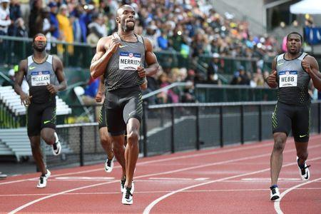 Jul 8, 2016; Eugene, OR, USA; Remontay McClain (left) and LaShawn Merritt (middle) and Ameer Webb (right) compete during the men's 200m semifinals in the 2016 U.S. Olympic track and field team trials at Hayward Field. Mandatory Credit: James Lang-USA TODAY Sports