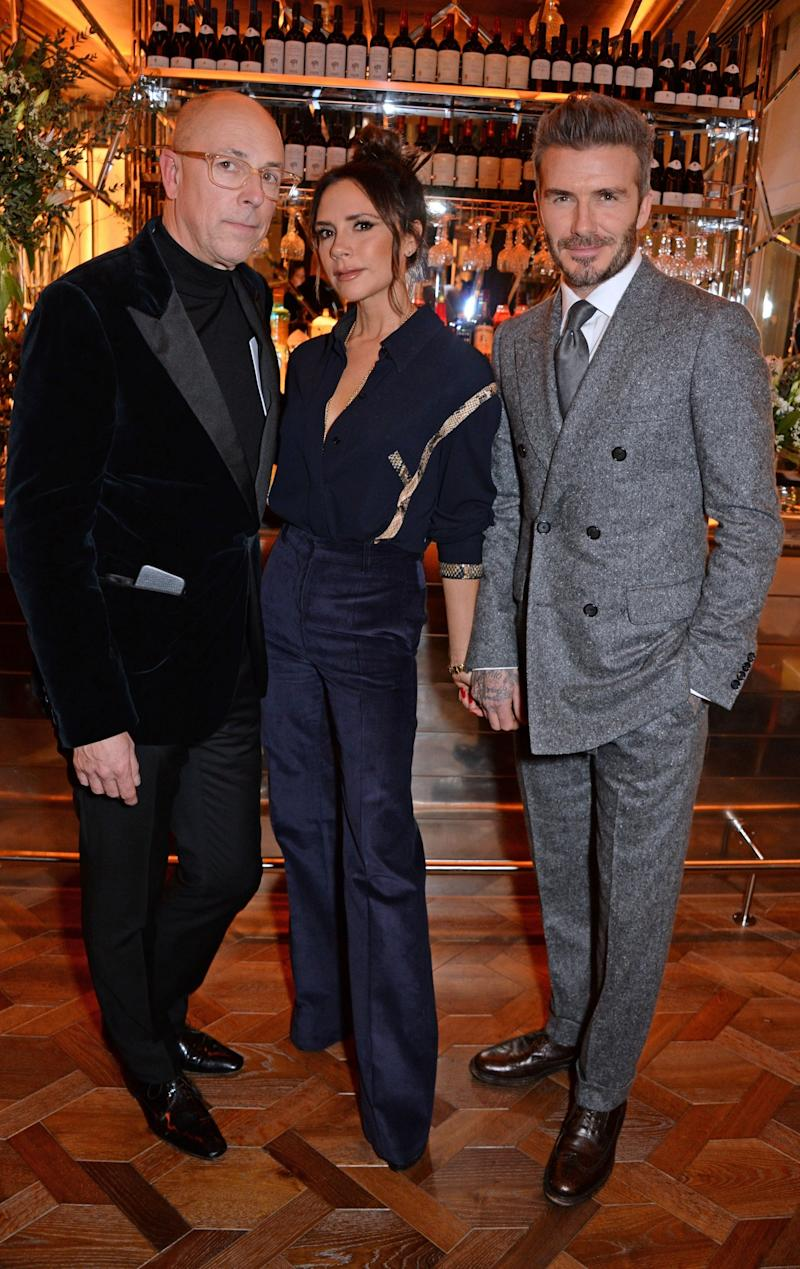 Night out: Dylan Jones, Victoria Beckham and David Beckham (Dave Benett)
