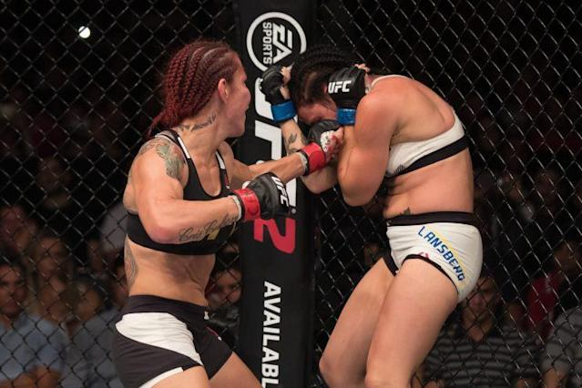 "Cris ""Cyborg"" Justino (L), putting the finishing touches on Lina Lansberg, will surrender her Invicta FC belt and pursue the UFC title. (Getty Images)"