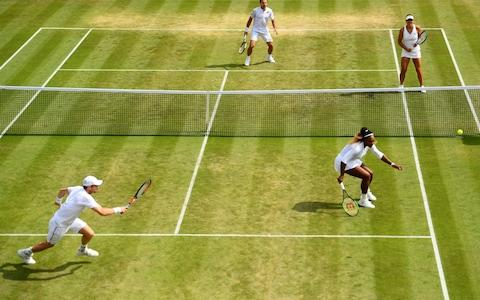 Serena Williams and Andy Murray during their mixed doubles match against Bruno Soares and Nicole Melichar - Credit: PA