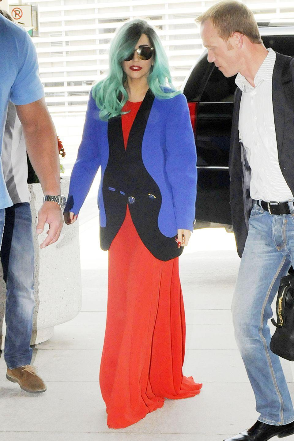 """<p><strong>Lady Gaga, 2011: </strong> She really is a master at somehow overcomplicating the airport outfit, even when she's wearing something """"normal"""" for her. </p>"""