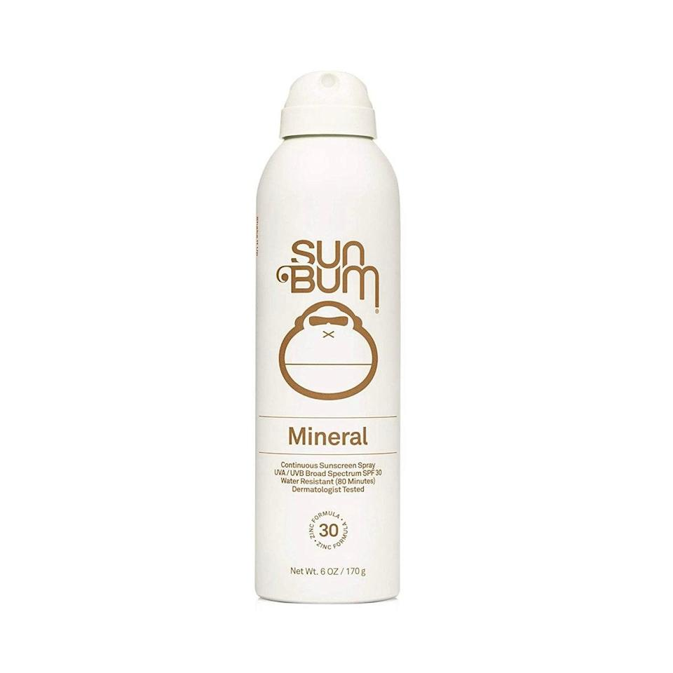 """Sun Bum Mineral Continuous Sunscreen Spray, formulated with 14 percent zinc oxide, is one of Kikam's favorite physical sunscreens. """"It's very lightweight, <a href=""""https://www.allure.com/story/what-does-hypoallergenic-mean-in-cosmetics?mbid=synd_yahoo_rss"""" rel=""""nofollow noopener"""" target=""""_blank"""" data-ylk=""""slk:hypoallergenic"""" class=""""link rapid-noclick-resp"""">hypoallergenic</a>, and [formulated] without dyes,"""" she says. She suggests this formula, which also protects skin from blue-light damage, for kids and those with sensitive skin. It's also a great option for your next vacation because it's coconut-scented and water-resistant. What more could you ask for? $12, Amazon. <a href=""""https://www.amazon.com/Sun-Bum-Sunscreen-Protection-Hypoallergenic/dp/B072QYMP4F"""" rel=""""nofollow noopener"""" target=""""_blank"""" data-ylk=""""slk:Get it now!"""" class=""""link rapid-noclick-resp"""">Get it now!</a>"""