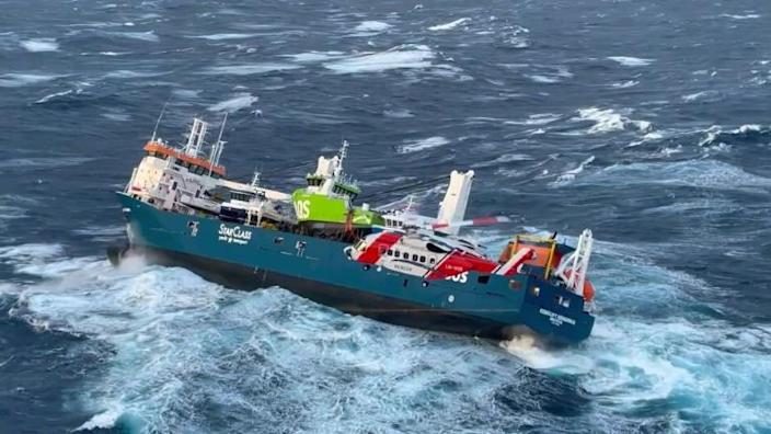 Man jumps overboard in dramatic evacuation of Dutch cargo ship