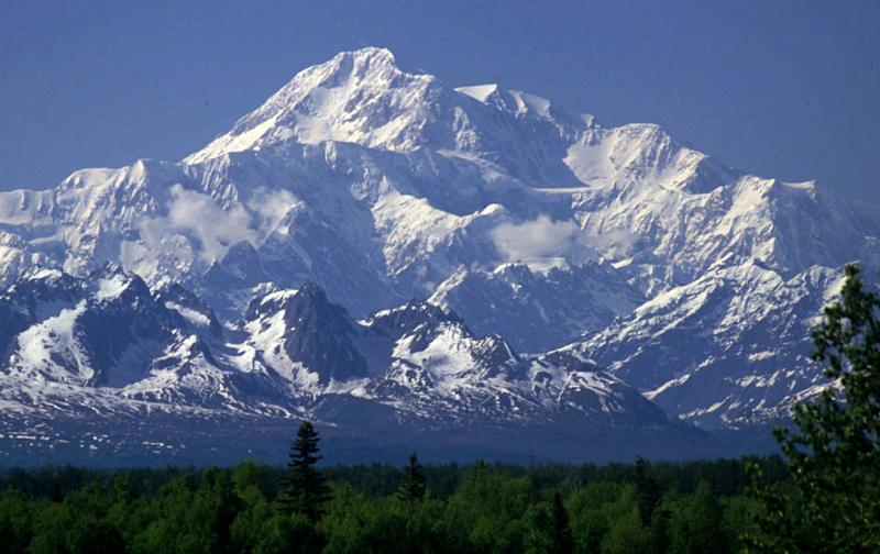 FILE- This undated file photo shows Mount McKinley as seen from Talkeetna, Alaska. New mapping suggests North America's tallest peak is actually 83 feet shorter than previously thought. Lt. Gov. Mead Treadwell, who released the data this week, said Mount McKinley is still the continent's highest peak. (AP Photo/Al Grillo, File)