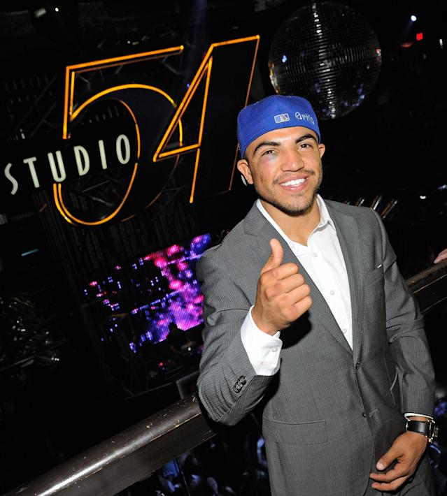LAS VEGAS, NV - SEPTEMBER 18: (EXCLUSIVE COVERAGE) Boxer Victor Ortiz appears at a post-fight party at Studio 54 inside the MGM Grand Hotel/Casino early on September 18, 2011 in Las Vegas, Nevada. Ortiz lost the WBC welterweight title to Floyd Mayweather Jr. by fourth-round knockout on September 17. (Photo by Ethan Miller/Getty Images for Studio 54)