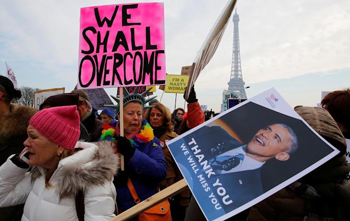 <p>Protesters take part in the Women's March on Paris, France, Jan. 21.(Reuters/Jacky Naegelen) </p>