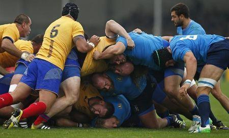 Rugby Union - Italy v Romania - IRB Rugby World Cup 2015 Pool D - Sandy Park, Exeter, England - 11/10/15 General view during a scrum Action Images via Reuters / Andrew Couldridge