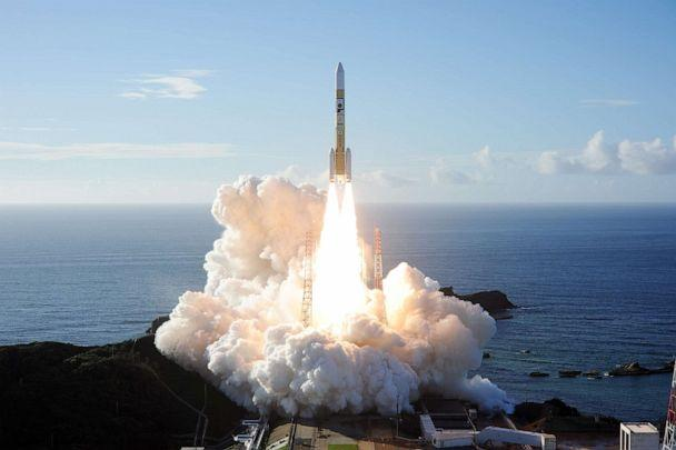 PHOTO: A handout photo made available by Mitsubishi Heavy Industries (MHI) shows an H2-A rocket carrying 'Hope', a spacecraft developed by the United Arab Emirates, taking off from Tanegashima Space Center in Kagoshima Prefecture, southwestern Japan. (MITSUBISHI HEAVY INDUSTRIES HANDOUT/EPA via Shutterstock)