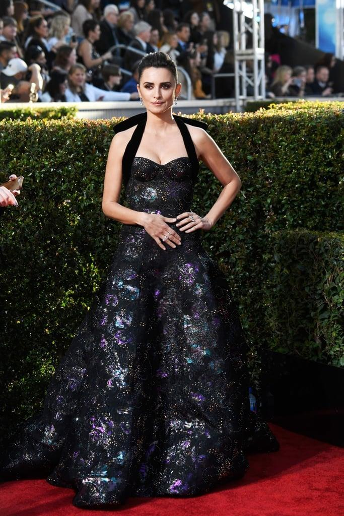 <p>Wearing a Ralph &amp; Russo gown with Atelier Swarovski jewels at the 2019 Golden Globes.</p>