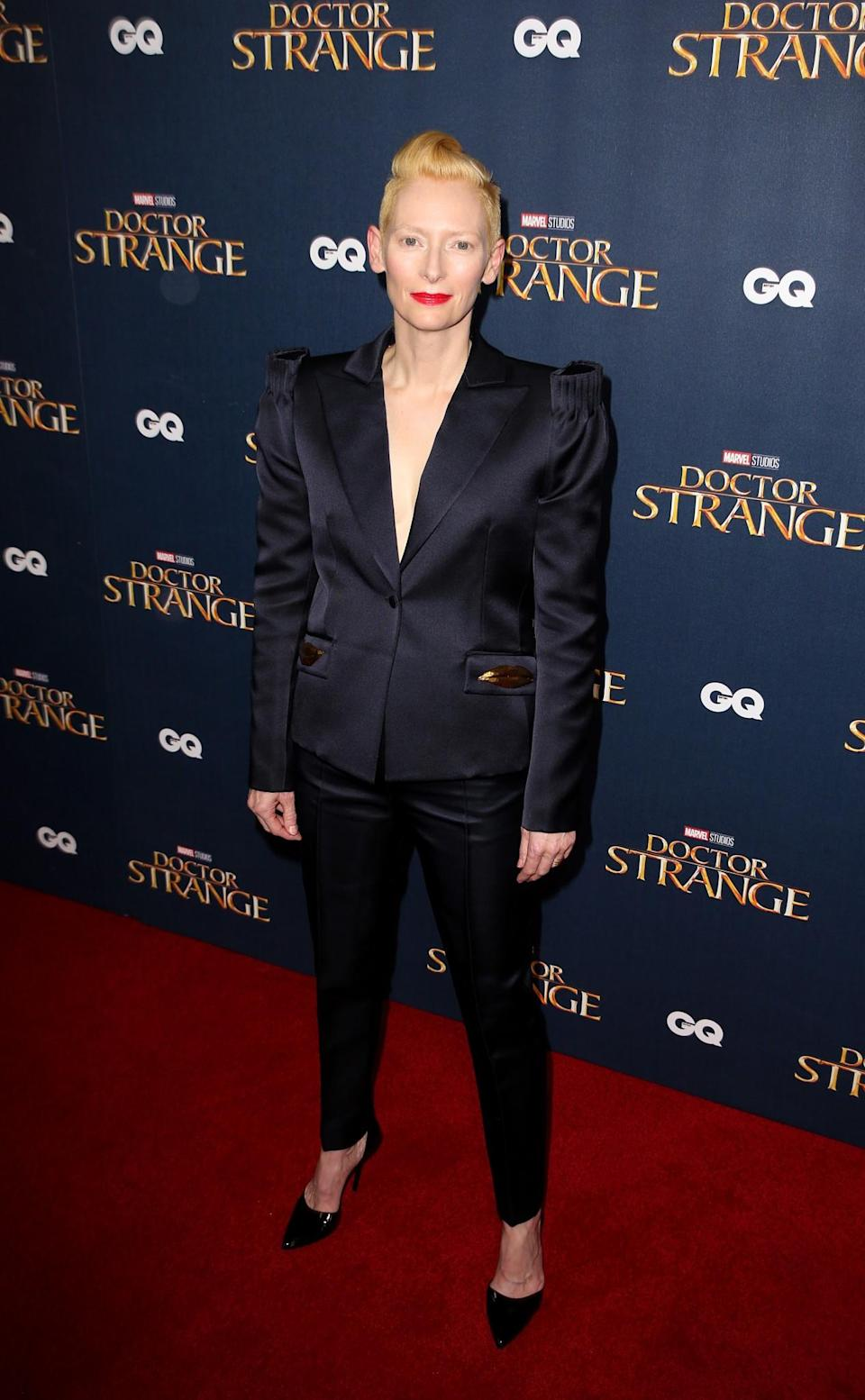<p>Tilda Swinton is known for her eccentric, yet chic style. Therefore it's no suprise that the star has been seen recently donning several shoulder padded numbers. [Photo: Getty] </p>