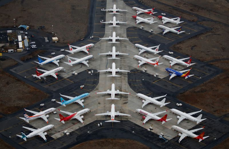 FILE PHOTO: Grounded Boeing 737 MAX aircraft are seen parked at Grant County International Airport in Moses Lake