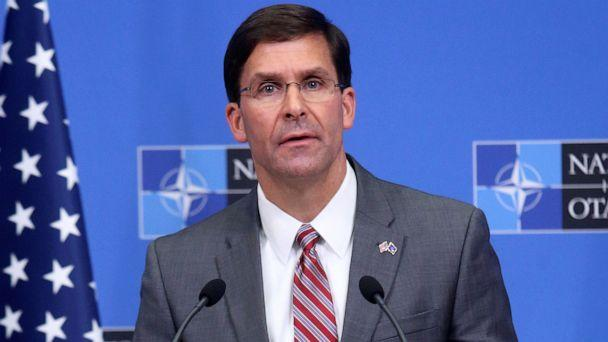 PHOTO:Acting U.S. Secretary for Defense Mark Esper speaks during a news conference after a NATO Defence Ministers meeting in Brussels, June 27, 2019. (Francois Walschaerts/Reuters)