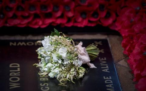 Meghan Markle's wedding bouquet lies on the grave of the Unknown Warrior - Credit: Victoria Jones/PA