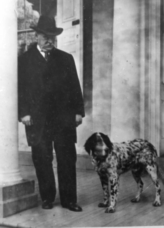 This is an undated photo of Grover Cleveland with his dog.  Cleveland was the 22nd and 24th U.S. President,1885-9 and 1893-7. (AP Photo)