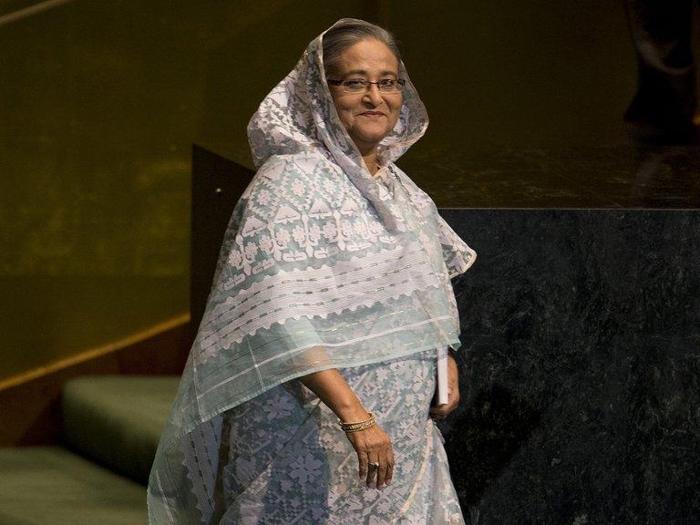 Bangladesh's Prime Minister Sheikh Hasina attends the United Nations General Assembly meeting on September 27, 2012