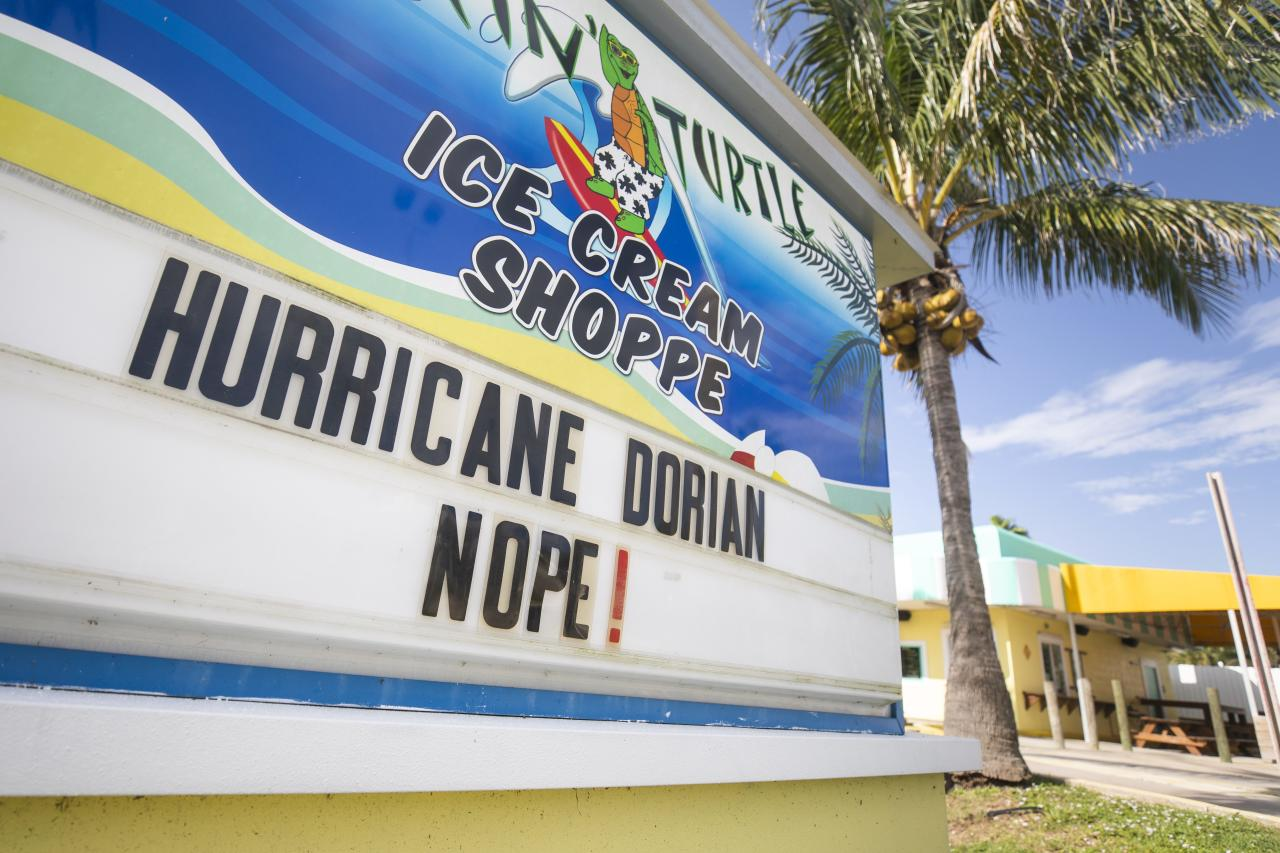 A message that reads 'Hurricane Dorian, Nope!' written on The Surfing Turtle Ice Cream Shoppe marquee in Sebastian Inlet State Park in Satellite Beach, Florida, USA, 31 August 2019. (EPA/JIM LO SCALZO)