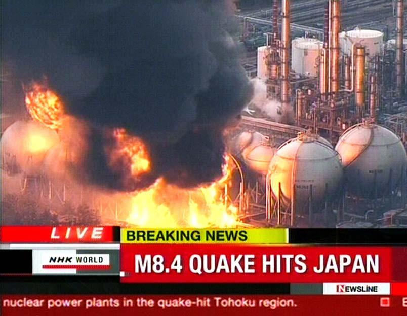 A screen grab taken from news footage by Japanese public broadcaster NHK on March 11, 2011 shows the power plant on fire in Ishihara.   A massive 8.9-magnitude earthquake shook Japan, unleashing a powerful tsunami that sent ships crashing into the shore and carried cars through the streets of coastal towns.