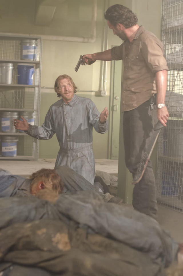 "Axel (Lew Temple) and Rick Grimes (Andrew Lincoln) in ""The Walking Dead"" episode, ""Sick."""