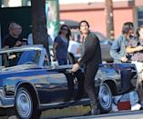<p>Christian Bale on the set of Knight of Cups on June 05, 2012, in Los Angeles.</p>