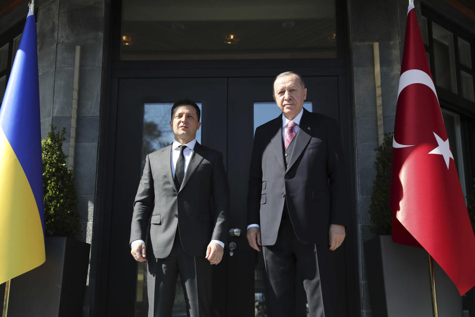 Turkey's President Recep Tayyip Erdogan, right, pose for photographs with Ukrainian President Volodymyr Zelenskyy, prior to their meeting in Istanbul, Saturday, April 10, 2021. Zelenskyy's visit to Turkey comes amid renewed tensions in eastern Ukraine, where Ukrainian forces and Russia-backed separatists have been fighting since 2014. (Turkish Presidency Pool via AP,)