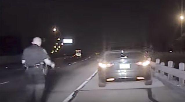 Lesell had pulled over another car when he was hit. Source: 7 News