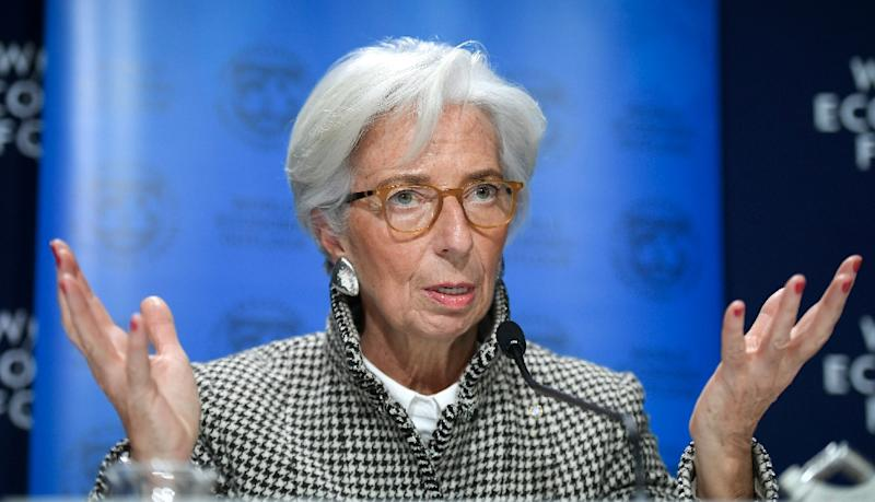 International Monetary Fund Managing Director Christine Lagarde speaks about the world economic outlook (AFP Photo/Fabrice COFFRINI)