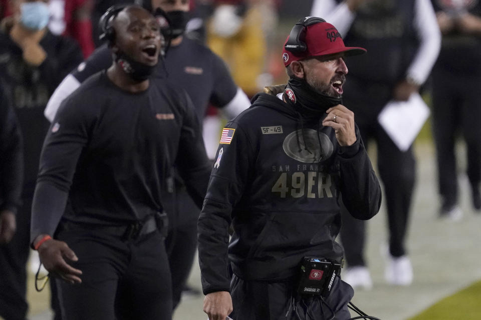 Kyle Shanahan (right) and the San Francisco 49ers will play their next two home games in Arizona after Santa Clara shut down their ability to do so at Levi's Stadium. (AP Photo/Tony Avelar)