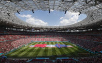 General view ahead of the Euro 2020 soccer championship group F match between Hungary and France at the Ferenc Puskas stadium in Budapest, Hungary, Saturday, June 19, 2021. (AP Photo/Laszlo Balogh,Pool)