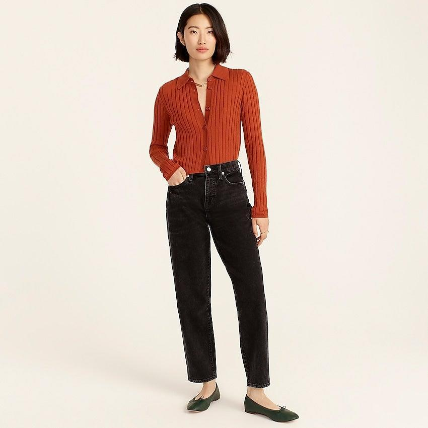 """<br><br><strong>J. Crew</strong> High-rise Peggy tapered jean in washed black, $, available at <a href=""""https://go.skimresources.com/?id=30283X879131&url=https%3A%2F%2Fwww.jcrew.com%2Fp%2Fwomens%2Fcategories%2Fclothing%2Fdenim%2Fwide-leg%2Fhigh-rise-peggy-tapered-jean-in-washed-black%2FBC266%3Fdisplay%3Dsale%26fit%3DClassic%26isFromSale%3Dtrue%26color_name%3Dwashed-black%26colorProductCode%3DBC266"""" rel=""""nofollow noopener"""" target=""""_blank"""" data-ylk=""""slk:J. Crew"""" class=""""link rapid-noclick-resp"""">J. Crew</a>"""