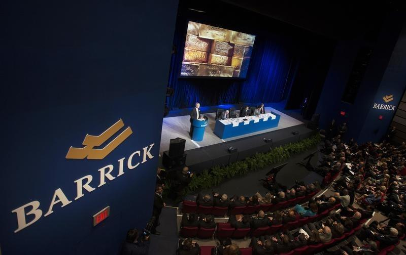 An overall view of the Barrick Gold annual general meeting for shareholders is seen as the CEO Sokalsky speaks in Toronto