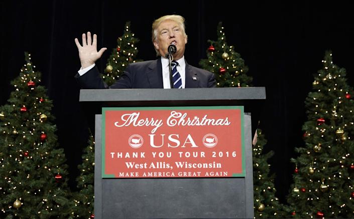 President-elect Donald Trump speaks during a rally at the Wisconsin State Fair Exposition Center, on Dec. 13, 2016, in West Allis, Wis. (Photo: Evan Vucci/AP)