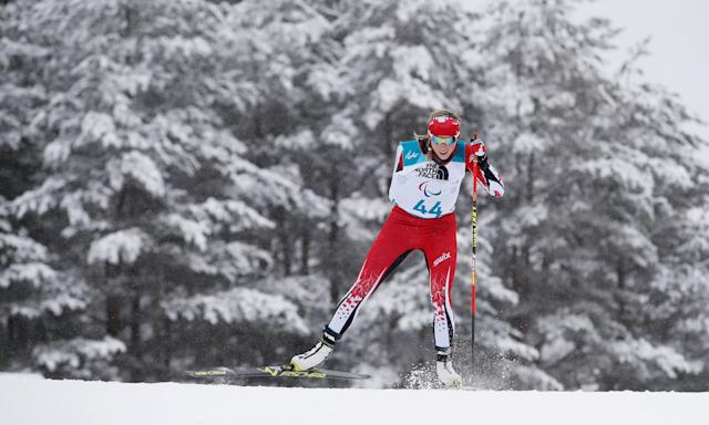 Biathlon - Pyeongchang 2018 Winter Paralympics - Women's 12.5km - Standing - Alpensia Biathlon Centre - Pyeongchang, South Korea - March 16, 2018 - Emily Young of Canada competes. REUTERS/Carl Recine