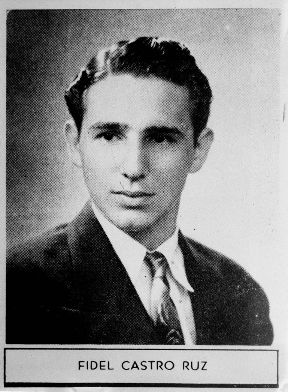 """<p>The caption describing Fidel Castro in his 1945 high school yearbook reads: """"Distinguished student and a fine athlete. Very popular. Will study law and we have no doubt he will have a brilliant future."""" (AP Photo) </p>"""