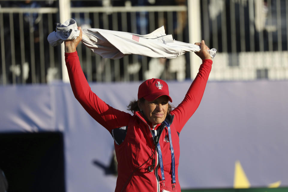 US captain Juli Inkster on the 1st tee during the start of the Solheim cup at Gleneagles, Auchterarder, Scotland, Friday, Sept. 13, 2019. (AP Photo/Peter Morrison)