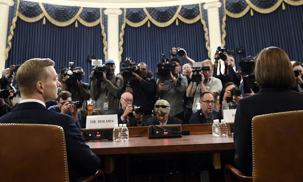 """<span class=""""element-image__caption"""">David Holmes and Fiona Hill on Capitol Hill.</span> <span class=""""element-image__credit"""">Photograph: Susan Walsh/AP</span>"""