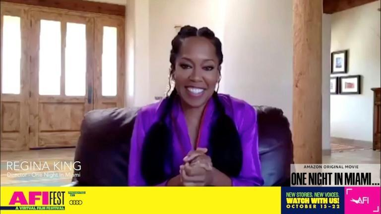 """Director Regina King introduced """"One Night in Miami"""" via video at the AFI Fest drive-in screening in Pasadena"""