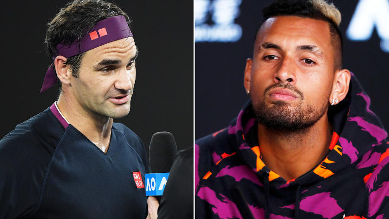 Roger Federer and Nick Kyrgios, pictured here at the Australian Open.