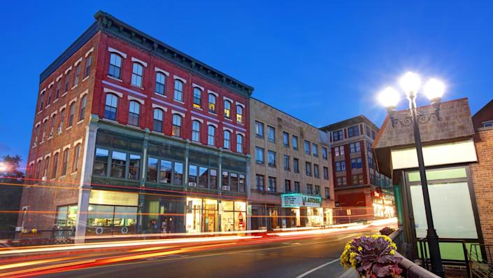 Brattleboro, Vermont, USA - October 19, 2018: Morning view of Main Street in the most populous municipality abutting Vermont's eastern border with New Hampshire.
