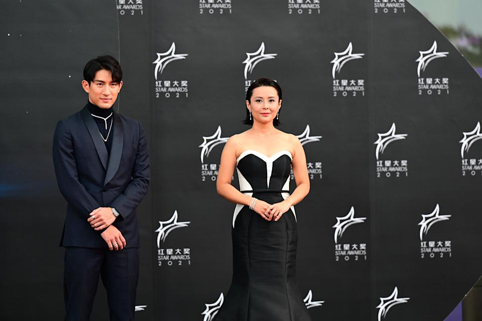 Ayden Sng and Priscelia Chan at Star Awards held at Changi Airport on 18 April 2021. (Photo: Mediacorp)