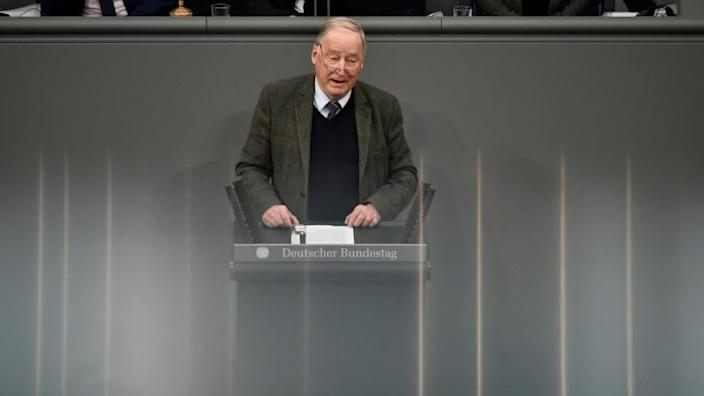 Co-leader of the far-right AfD party Alexander Gauland called for a cap on immigration in a recent speech in Chemnitz (AFP Photo/John MACDOUGALL)
