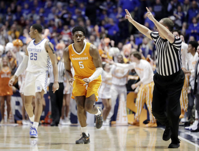 Tennessee guard Admiral Schofield (5) celebrates as he runs down the court after making a 3-point basket against Kentucky in the second half of an NCAA college basketball game at the Southeastern Conference tournament Saturday, March 16, 2019, in Nashville, Tenn. Tennessee won 82-78. (AP Photo/Mark Humphrey)